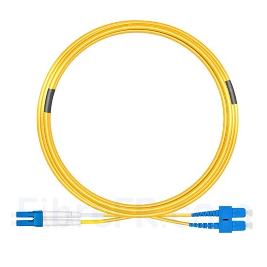 Image de 15m LC UPC vers SC UPC Duplex 2,0mm PVC (OFNR) OS2 Jarretière Optique Monomode
