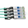Image de 2m Brocade 100G-Q28-S28-AOC-0201 Compatible Câble Optique Actif Breakout QSFP28 100G vers 4 x SFP28