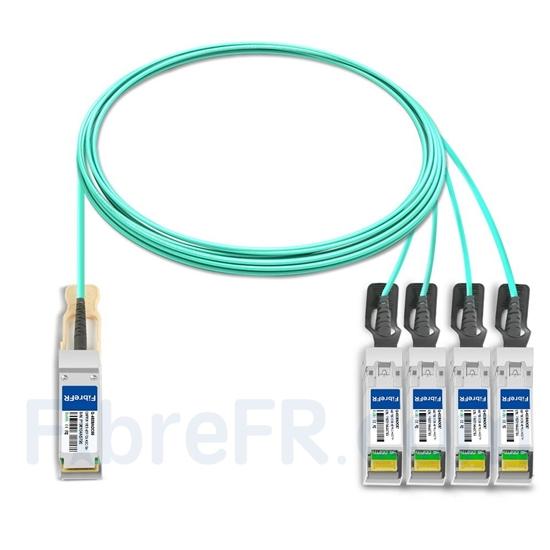 Image de 7m Cisco QSFP-4SFP25G-AOC7M Compatible Câble Optique Actif Breakout QSFP28 100G vers 4 x SFP28