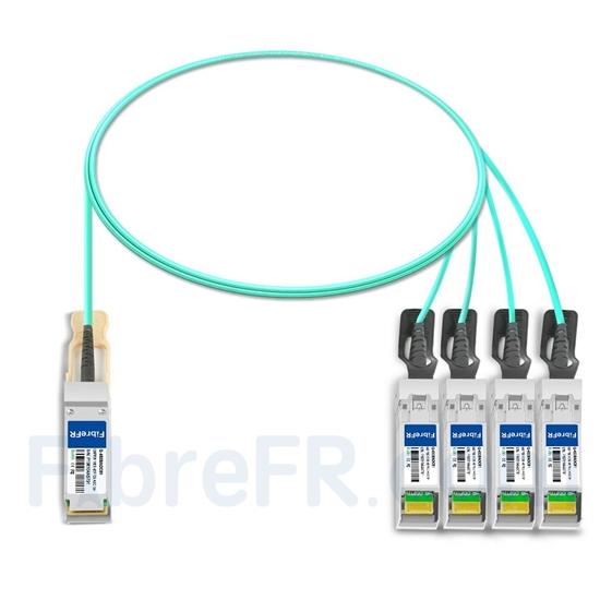 Image de 1m H3C QSFP28-4SFP28-AOC-1M Compatible Câble Optique Actif Breakout QSFP28 100G vers 4 x SFP28