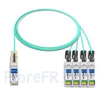 Image de 3m H3C QSFP28-4SFP28-AOC-3M Compatible Câble Optique Actif Breakout QSFP28 100G vers 4 x SFP28