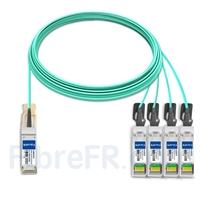 Image de 20m H3C QSFP28-4SFP28-AOC-20M Compatible Câble Optique Actif Breakout QSFP28 100G vers 4 x SFP28