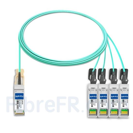 Image de 5m Brocade 40G-QSFP-4SFP-AOC-0501 Compatible Câble Optique Actif Breakout QSFP+ 40G vers 4 x SFP+