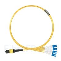 Image de 1m Senko MPO Femelle vers 4 LC UPC Duplex 8 Fibres OS2 9/125 Câble Breakout Monomode, Type B, Élite, LSZH, Jaune