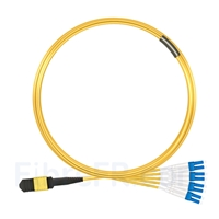 Image de 5m Senko MPO Femelle vers 4 LC UPC Duplex 8 Fibres OS2 9/125 Câble Breakout Monomode, Type B, Élite, LSZH, Jaune