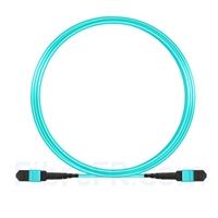 Image de 5m MTP-MTP Patch Cable Femelle 12 Fibres OM3 50/125 Multimode, Type A, Élite, Plénum (LSZH), Aqua