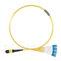 Image de 1m MTP Femelle vers 4 LC UPC Duplex 8 Fibres OS2 9/125 Câble Breakout Monomode, Type B, Élite, LSZH, Jaune
