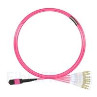 Image de 5m MTP Femelle vers 4 LC UPC Duplex 8 Fibres OM4 (OM3) 50/125 Câble Breakout Multimode, Type B, Élite, LSZH, Magenta