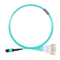 Image de 5m MTP Femelle vers 4 LC UPC Duplex 8 Fibres OM3 50/125 Câble Breakout Multimode, Type B, Élite, Plénum (OFNP), Aqua