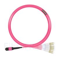 Image de 10m MTP Femelle vers 4 LC UPC Duplex 8 Fibres OM4 (OM3) 50/125 Câble Breakout Multimode, Type B, Élite, Plénum (OFNP), Magenta