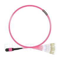 Image de 2m MTP Femelle vers 4 LC UPC Duplex 8 Fibres OM4 (OM3) 50/125 Câble Breakout Multimode, Type B, Élite, Plénum (OFNP), Magenta
