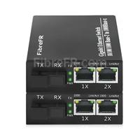 Image de 2x10/100/1000Base-T RJ45 ~ 1x1000Base-X SFP Rainure SC non géré Gigabit Ethernet Media Converter, Simplex, 1310nm/1550nm, 20km