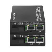 Image de 1x10/100Base-T RJ45 vers 2x100Base-X SFP Rainure SC non géré Gigabit Ethernet Media Converter, Simplex, 1310nm/1550nm, 20km
