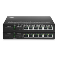 Image de 6x10/100Base-T RJ45 vers 1x100Base-X SFP Rainure SC non géré Gigabit Ethernet Media Converter, Simplex, 1310nm/1550nm, 20km