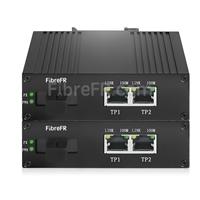 Image de 2x10/100Base-T RJ45 vers 1x100Base-X SFP Rainure SC non géré Gigabit Ethernet Media Converter, Simplex, 1310nm/1550nm, 20km, industriel