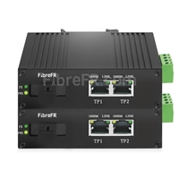 Image de Mini 4x10/100/1000Base-T RJ45 vers 1x1000Base-X SFP Rainure SC Non géré Gigabit Ethernet Media Converter, Simplex, 1310nm/1550nm, 20km, Industrial