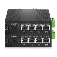 Image de Mini 4x10/100/1000Base-T RJ45 vers 1x 1000Base-X SFP Rainure SC Non géré Gigabit Ethernet Media Converter, Simplex, 1310nm/1550nm, 20km, Industrial