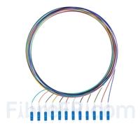 Image de 1m Pigtail à Fibre Optique à Code Couleur LC UPC 12 Fibres OS2 Monomode, Sans Gaine