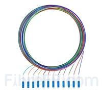 Image de 2m Pigtail à Fibre Optique à Code Couleur LC UPC 12 Fibres OS2 Monomode, Sans Gaine