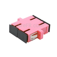 Image de Adaptateur à Fibre Optique/Manchon d'Accouplement Plastique SC/UPC vers SC/UPC 10G Multimode OM4 Duplex avec Bride, Violet